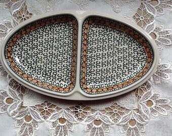 Polish Pottery Divided Serving Platter originates from Boleslawiec, Poland