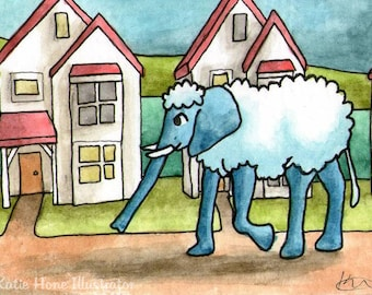 Woolly Elephant Walking Houses Neighbourhood miniature art ATC Gift Art Trading Card Whimsical - Original ART ACEO Watercolor - Katie Hone