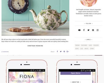 Blogger Template Responsive, Blogger Theme, Minimal, Slider, Simple, Photography, Template for Blogger, Premade, Blogspot - Fiona