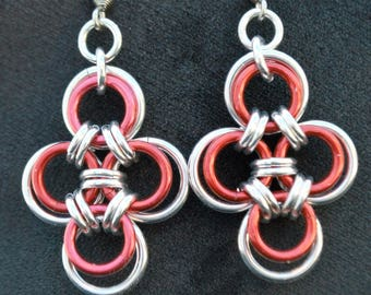 Japanese Cross Chainmaille Earrings