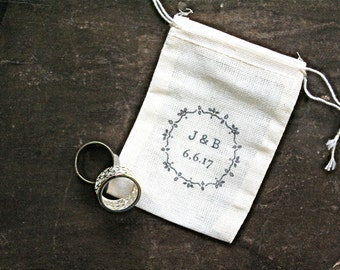 Personalized wedding ring bag, rustic cotton ring bag, ring bearer, personalized with initials and floral wreath, cotton ring pouch, wedding