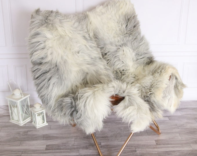 Genuine Natural Double Side by Side Organic Sheepskin Rug | Sheepskin Throw | Grey Sheepskin Rug | double Sheepskin Rug |
