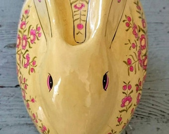 Large Paper Mache Rabbit Box. Bunny Box.  Easter Box. Candy Box.  Trinket Box.  Storage box