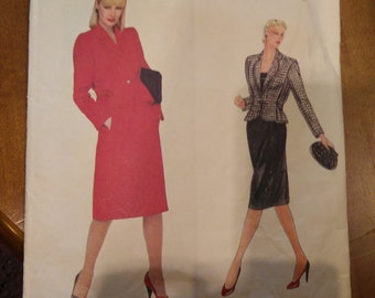 "Vogue 2429 Givenchy Vogue Paris Original Size 12 Misses' Jacket & Skirt Pattern 34"" Bust - Uncut - Peplum Jacket, Couture Pattern"
