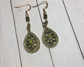 Gold Tone Teardrop Earrings with Green Accents
