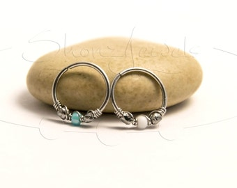 20G 22G Firepolish White Turquoise or Pink Nose Ring or Cartilage Earring