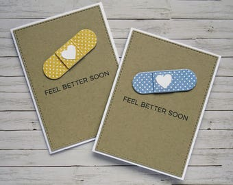 Handcrafted Get Well Card - Cute Plaster (choice of colour) | Handmade Feel Better Soon Card | Cute Get Well Card with Plaster