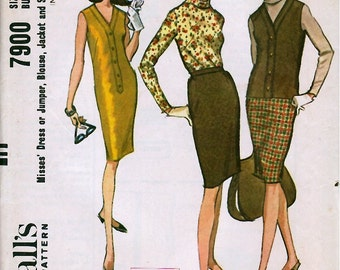 Bust 36-1968  Misses' Dress or Jumper, Blouse, Jacket and Skirt  McCall's 7900  Size 16