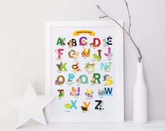 Animal Alphabet, Alphabet Poster, Baby Shower Gift, ABC, Nursery Alphabet, Nursery Decor, Playroom Art, Baby Gift, Alphabet Print, Elephant