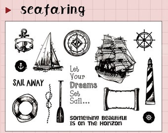 clear Stamp Set / Clear Stamps / seafaring sailing ship journal navigation themed Transparent Stamp