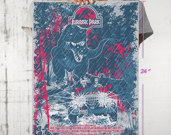 Silk Screened Jurassic Park Alternate Movie Poster Print Limited Edition