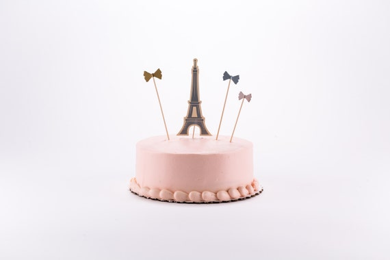 Eiffel Tower Paris Cake Toppers Bow Cake Topper Dessert