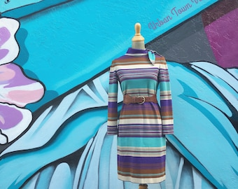 Vintage 1960s Saks Fifth Avenue Purple Turquoise Striped Scarf Neck Shift Dress (Size Small/Medium)