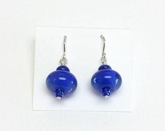 Lapis Blue Mini Dangle French Hook Earrings