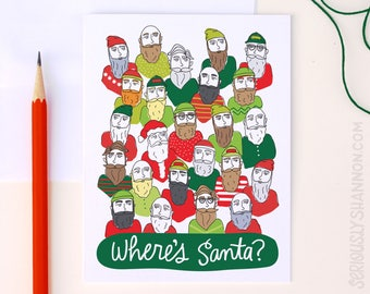 "Funny Christmas Card, Hipster Santa, Funny Holiday Card, Funny Santa Card, ""Where's Santa?"", A2 Greeting Card"