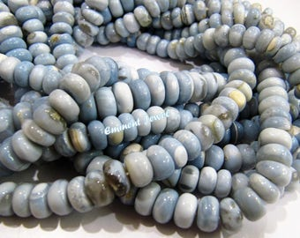 Best Quality 100 percent Natural Blue Opal Beads / Peruvian Opal Smooth Rondelle Beads 5 to 9 mm / Strand 7 inch long / Plain Gemstone Beads