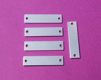 "10 - 5052 Aluminum 1/2"" x 1 3/4"" Rectangle Blanks - TWO HOLES - Polished Metal Stamping Blanks - 14G 5052 Aluminum"