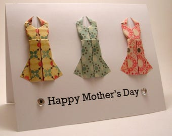 Origami Dress Mother's Day Card (yellow blue pink)