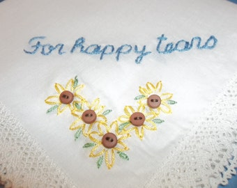 sunflower gift, wedding handkerchief, by hand, something blue, bridal gift, blue for bride, mom gift, rustic weddings, brown button
