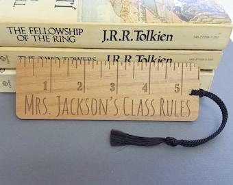 Custom Wood Ruler Bookmark - Laser Engraved Alder Wood - Custom Teacher Gift