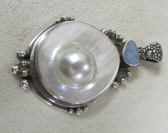 Bold Sterling Silver Blister Pearl and Opal Pendant
