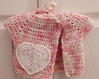 3-6 Months Pink baby girl Crochet Sweater