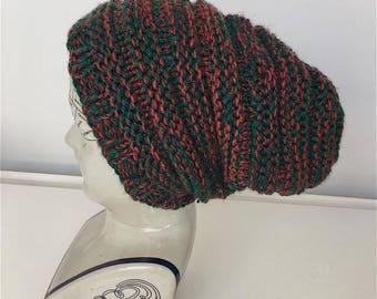 Handmade knitted slouch beanie hat 100% Vegan