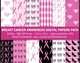 Breast Cancer Awareness Digital Paper Pack - Commercial Use, Pink, Super Woman, Pink Ribbon, Butterfly, Printable, Scrapbook