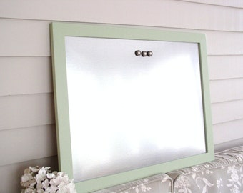 """Framed Magnetic Bulletin Board Dry Erase Galvanized Steel Industrial Wood Cucumber Green Mint 20.5 x 26.5"""" Memo Message Board with Magnets"""