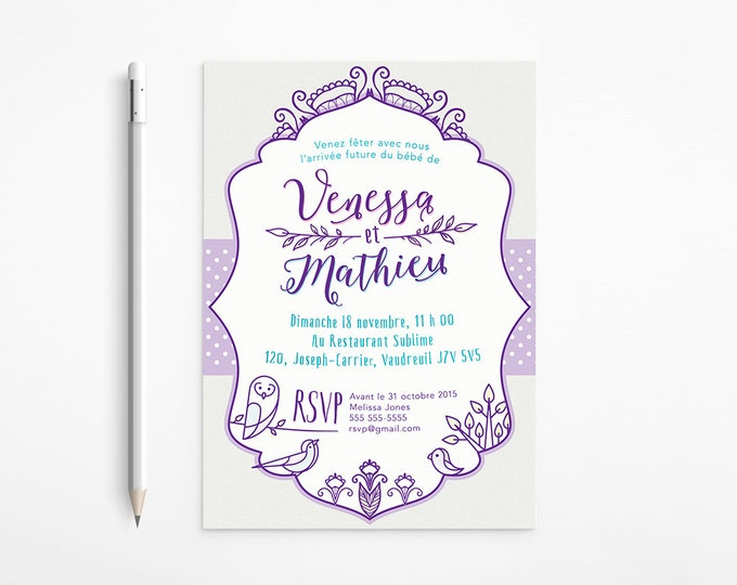 PRINTABLE - Whimsical Baby Shower Invitation - Purple - Grey - Turquoise - Owls - Birds - Tree - Free changes
