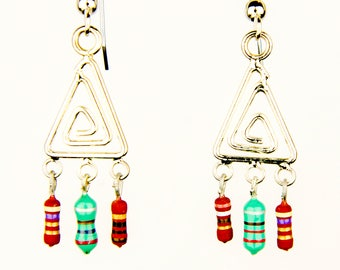 Triangle Dangle Earrings with Brown and Green Resistors