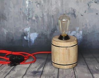 "Wooden lamp, ""Bob Barrel"", industrial lamp, Night lamp"
