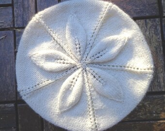 Hand knitted cream slouchy Hat