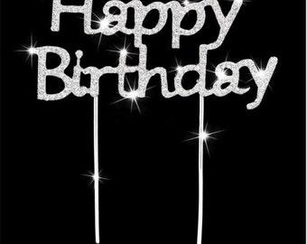 "3.5 In. X 2 In. "" Happy Birthday"" Rhinestone Birthday Party Sparkling Cake Topper Metal In Silver Tone"