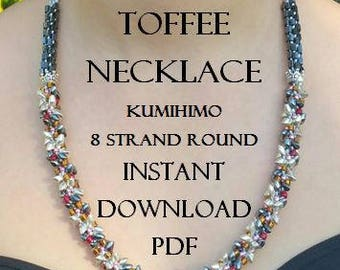 Kumihimo Pattern - Royal Toffee Necklace - Instant Download PDF - Series ll Metallic - 8 Strand Round - Intermediate - Simply Stunning