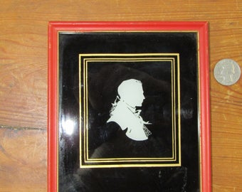 Small reverse painted glass colonial gentleman silhouette