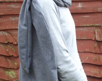 Cosplay cape cloak in faux suedette fabric with infinity scarf assassin warrior hunter knight