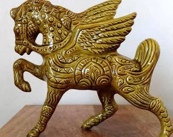Mid Century Vintage Bitossi Style Pegasus Horse Ceramic Figurine Large