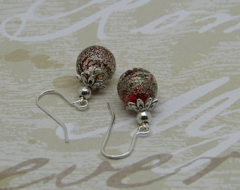 Red Murano glass orange with silver leaf earrings