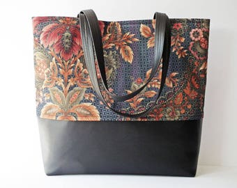 Tote Bag, Shopper, Day Bag, Work Bag, Multi-Purpose Tote, Shoulder Bag, Black Faux Leather, Navy Print, OOAK, UK Seller