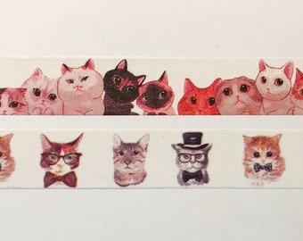 "Cute Cats Washi Tape 24"" Sample Set Bobbins - Cats in glasses, Cats bow ties, Kittens, Kitties, Kitty"
