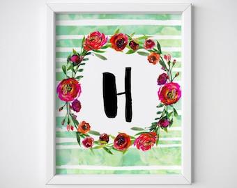 """ABC printable alphabet letters """"H"""" floral Watercolor art print home decor instant download, initials downloadable wreath & stripes PDF jpg."""