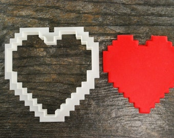 8-Bit Heart Cookie Cutter, Mini and Standard Sizes, 3D Printed
