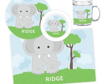 Elephant Plate, Bowl, Mug or Placemat - Personalized Elephant Dinnerware Set - Personalized Plate for Kids - Kids Melamine Plate Set