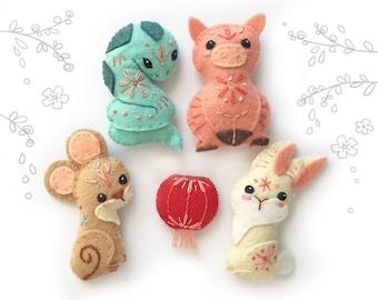 DIY Mini Chinese Zodiac plush SET 2 PDF sewing pattern new year felt animal patterns ornaments