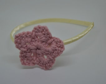 Crochet Star Headband - Pink Star on an Ivory Satin Wrapped Headband