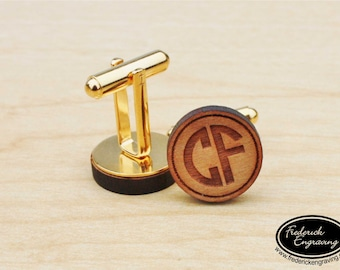 Engraved Monogram Cuff Links - Personalized Cuff Links - Monogram Cufflinks - Two or Three Initial Monogram - Groomsman Gift - CF-04