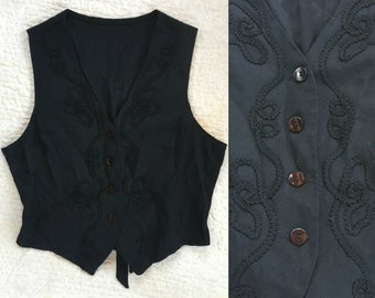 Western black embroidered silky vest // Size S - M //