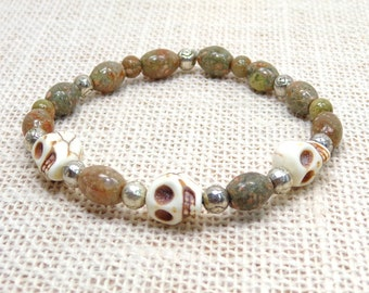 Howlite Skull with Forest Jasper and Silver Eye Beads Unisex Yoga, Stretchy Style Bracelet 8 1/2 Inches