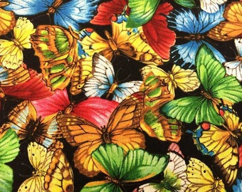 Butterfly Fabric with Butterflies By the Yard or Half Yard Nature Green Yellow Black Fabric Cotton Quilting Fabric t3/15